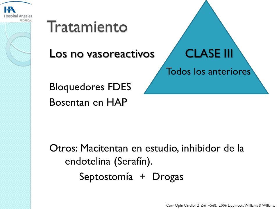 Tratamiento SEGÚN LA ETIOLOGIA DETERMINANTE Vasoreactividad Vasoreactividad PAPM Mayor 10 mm Hg + PAPM menor 40 mmHg Bloq. Canales Ca 10% POBLACION CL