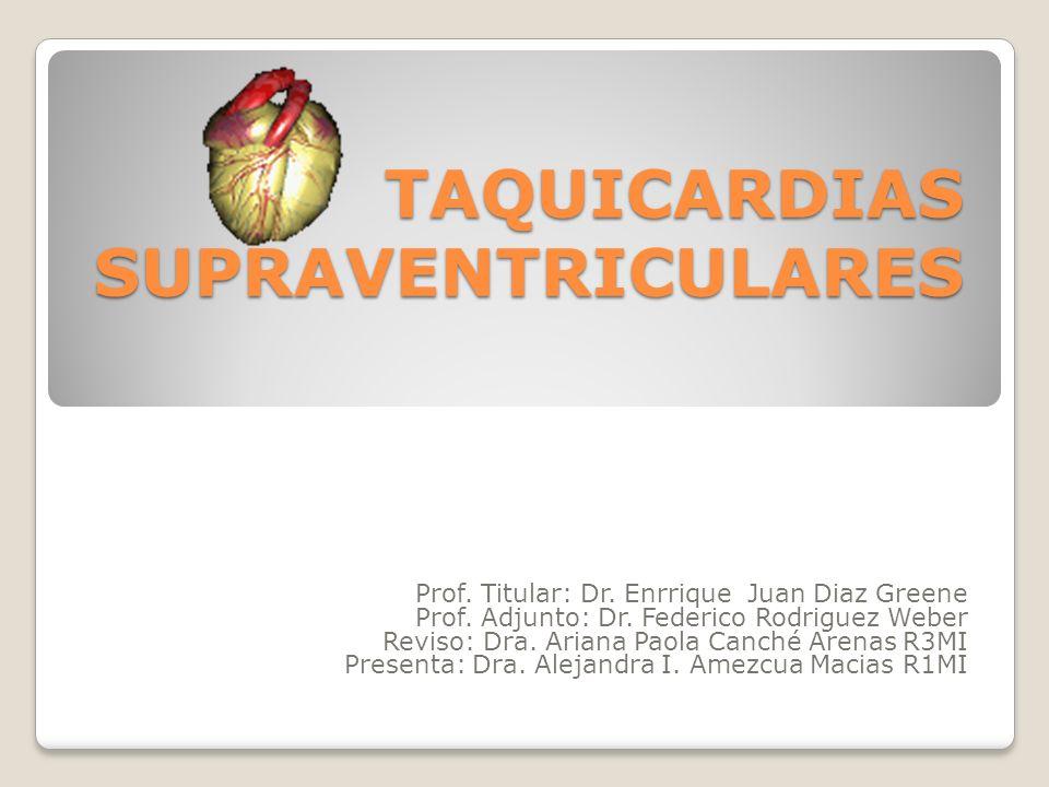TAQUICARDIAS SUPRAVENTRICULARES Prof. Titular: Dr. Enrrique Juan Diaz Greene Prof. Adjunto: Dr. Federico Rodriguez Weber Reviso: Dra. Ariana Paola Can