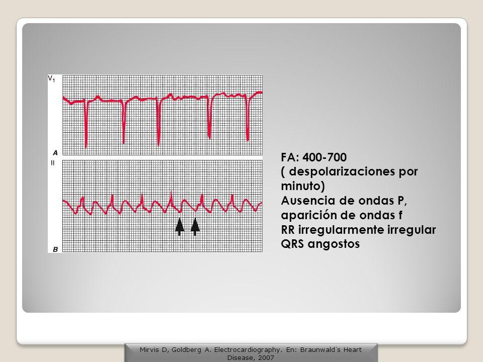 FA: 400-700 ( despolarizaciones por minuto) Ausencia de ondas P, aparición de ondas f RR irregularmente irregular QRS angostos Mirvis D, Goldberg A. E