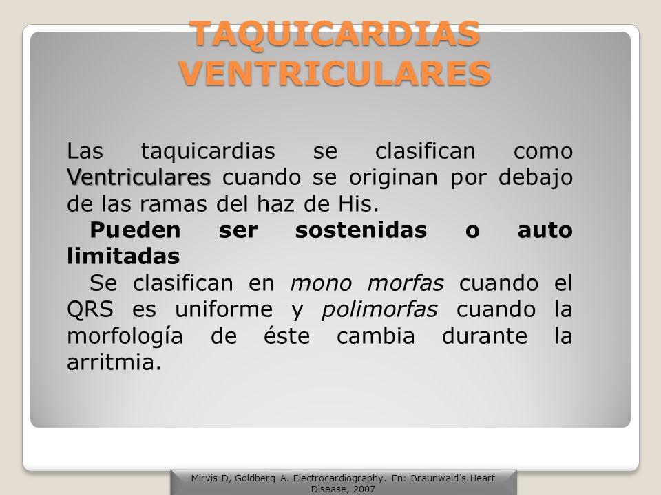 TAQUICARDIAS VENTRICULARES Ventriculares Las taquicardias se clasifican como Ventriculares cuando se originan por debajo de las ramas del haz de His.