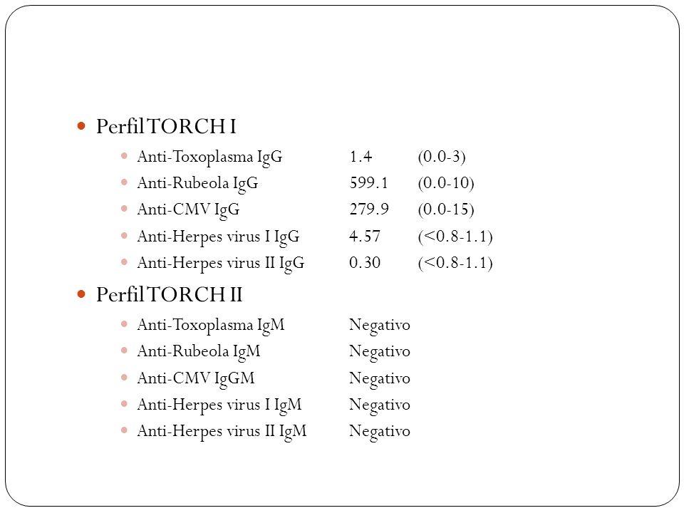 Perfil TORCH I Anti-Toxoplasma IgG1.4(0.0-3) Anti-Rubeola IgG 599.1(0.0-10) Anti-CMV IgG279.9(0.0-15) Anti-Herpes virus I IgG4.57(<0.8-1.1) Anti-Herpe