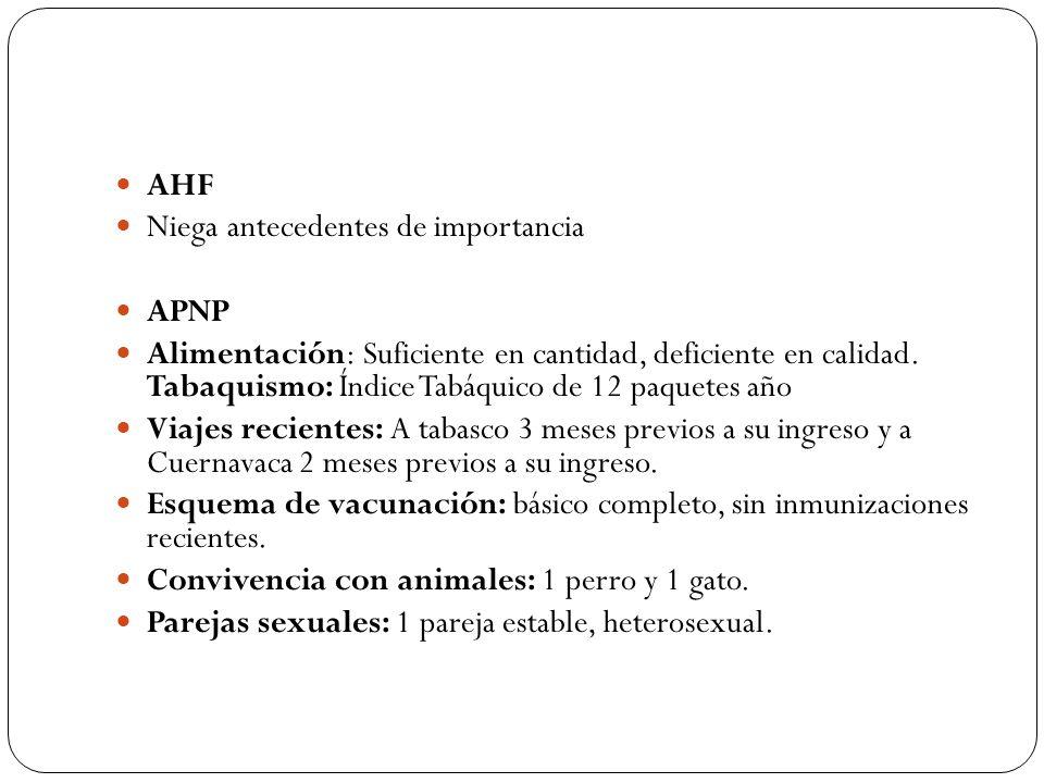 AHF Niega antecedentes de importancia APNP Alimentación: Suficiente en cantidad, deficiente en calidad. Tabaquismo: Índice Tabáquico de 12 paquetes añ