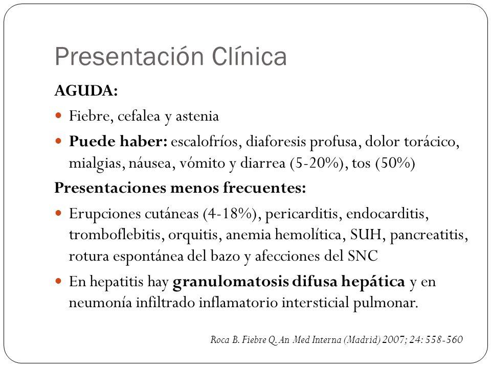 Presentación Clínica AGUDA: Fiebre, cefalea y astenia Puede haber: escalofríos, diaforesis profusa, dolor torácico, mialgias, náusea, vómito y diarrea