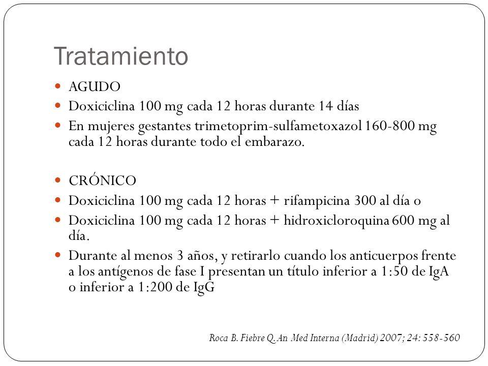 Tratamiento AGUDO Doxiciclina 100 mg cada 12 horas durante 14 días En mujeres gestantes trimetoprim-sulfametoxazol 160-800 mg cada 12 horas durante to