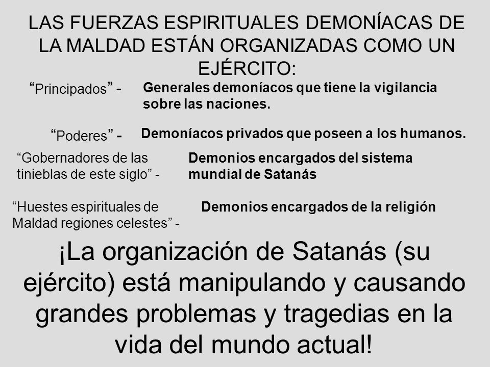 LAS FUERZAS ESPIRITUALES DEMONÍACAS DE LA MALDAD ESTÁN ORGANIZADAS COMO UN EJÉRCITO: Principados - Generales demoníacos que tiene la vigilancia sobre
