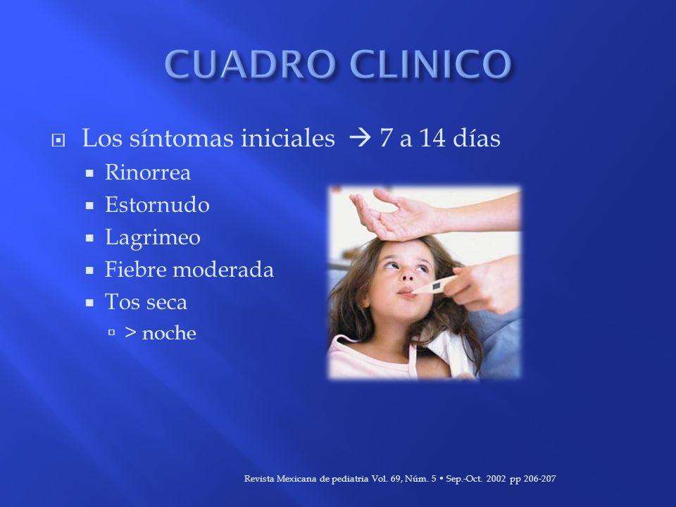 Los síntomas iniciales 7 a 14 días Rinorrea Estornudo Lagrimeo Fiebre moderada Tos seca > noche Revista Mexicana de pediatria Vol. 69, Núm. 5 Sep.-Oct