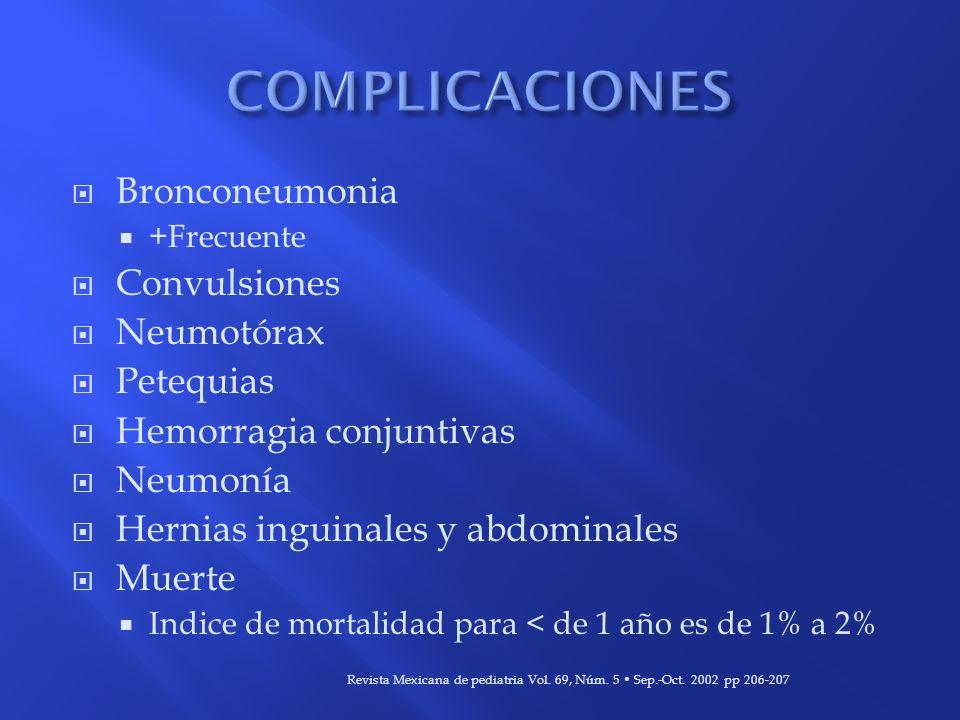 Bronconeumonia +Frecuente Convulsiones Neumotórax Petequias Hemorragia conjuntivas Neumonía Hernias inguinales y abdominales Muerte Indice de mortalid