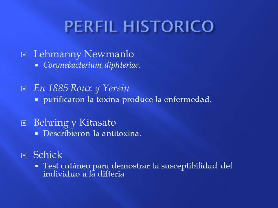 Lehmanny Newmanlo Corynebacterium diphteriae. En 1885 Roux y Yersin purificaron la toxina produce la enfermedad. Behring y Kitasato Describieron la an