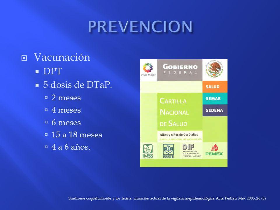Vacunación DPT 5 dosis de DTaP. 2 meses 4 meses 6 meses 15 a 18 meses 4 a 6 años. Síndrome coqueluchoide y tos ferina: situación actual de la vigilanc