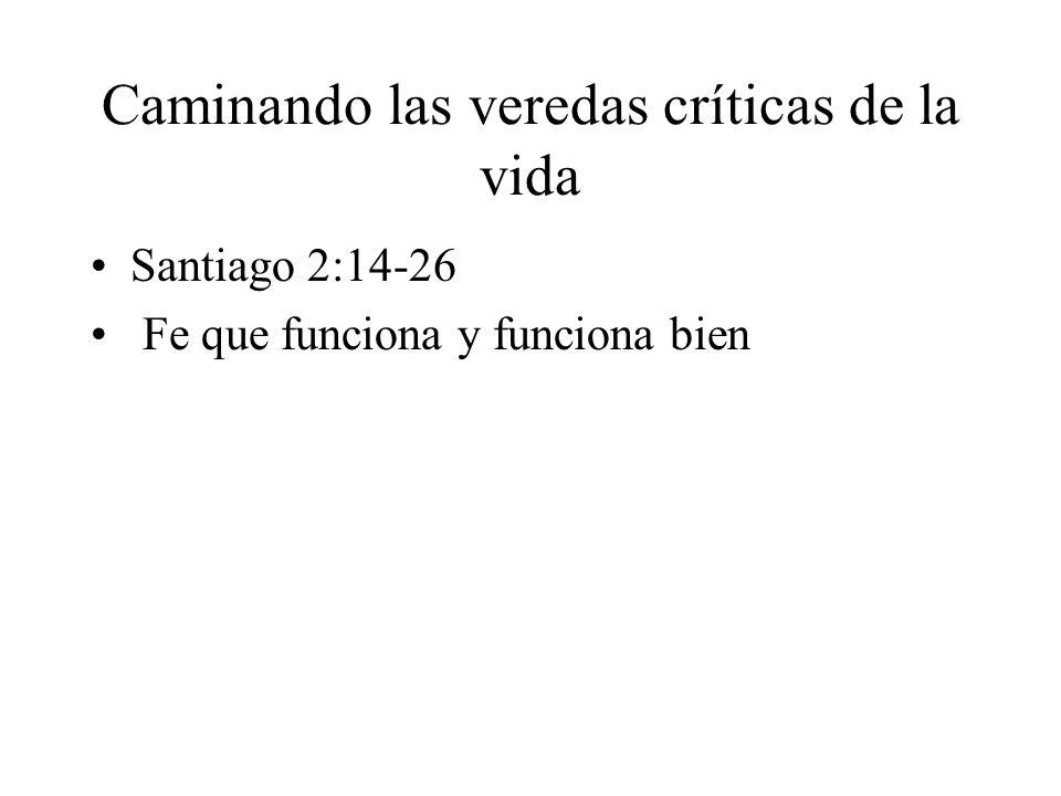 Caminando las veredas críticas de la vida Santiago 2:14-26 Fe que funciona y funciona bien