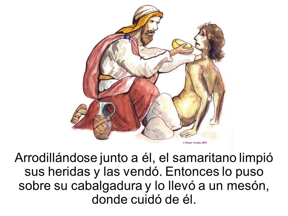Arrodillándose junto a él, el samaritano limpió sus heridas y las vendó. Entonces lo puso sobre su cabalgadura y lo llevó a un mesón, donde cuidó de é