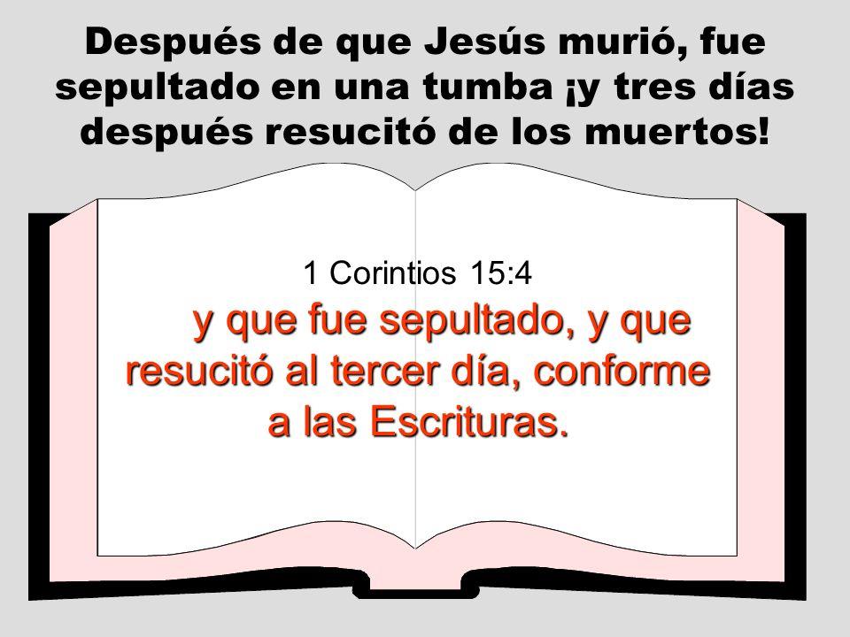 Después de que Jesús murió, fue sepultado en una tumba ¡y tres días después resucitó de los muertos! 1 Corintios 15:4 y que fue sepultado, y que resuc