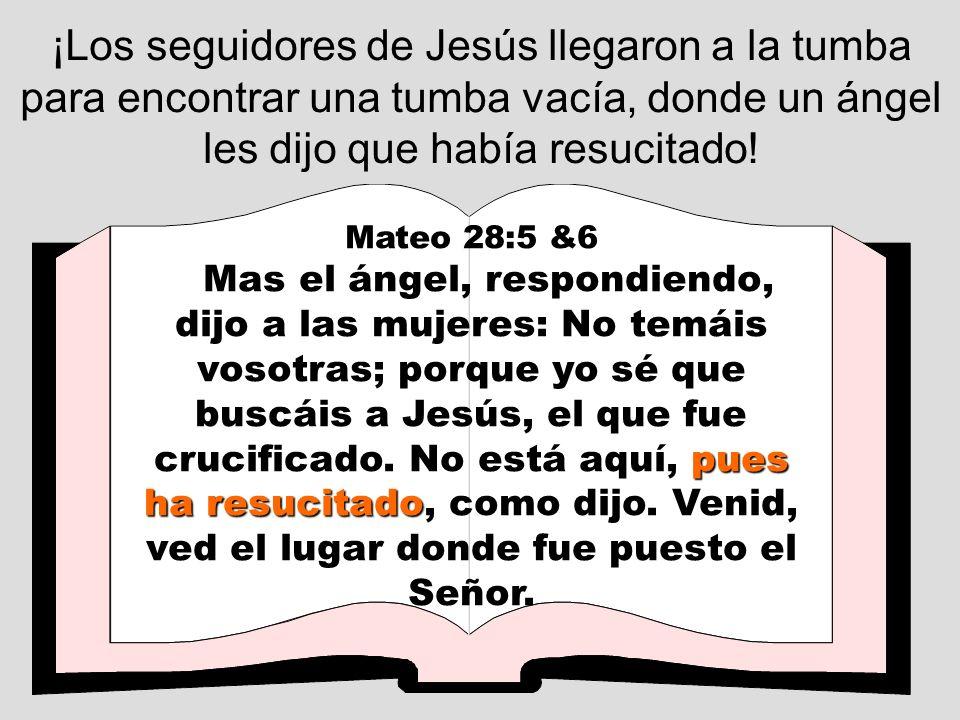 ¡Los seguidores de Jesús llegaron a la tumba para encontrar una tumba vacía, donde un ángel les dijo que había resucitado! Mateo 28:5 &6 pues ha resuc