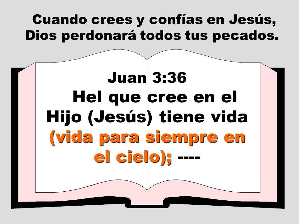 Cuando crees y confías en Jesús, Dios perdonará todos tus pecados. Juan 3:36 (vida para siempre en el cielo); Hel que cree en el Hijo (Jesús) tiene vi