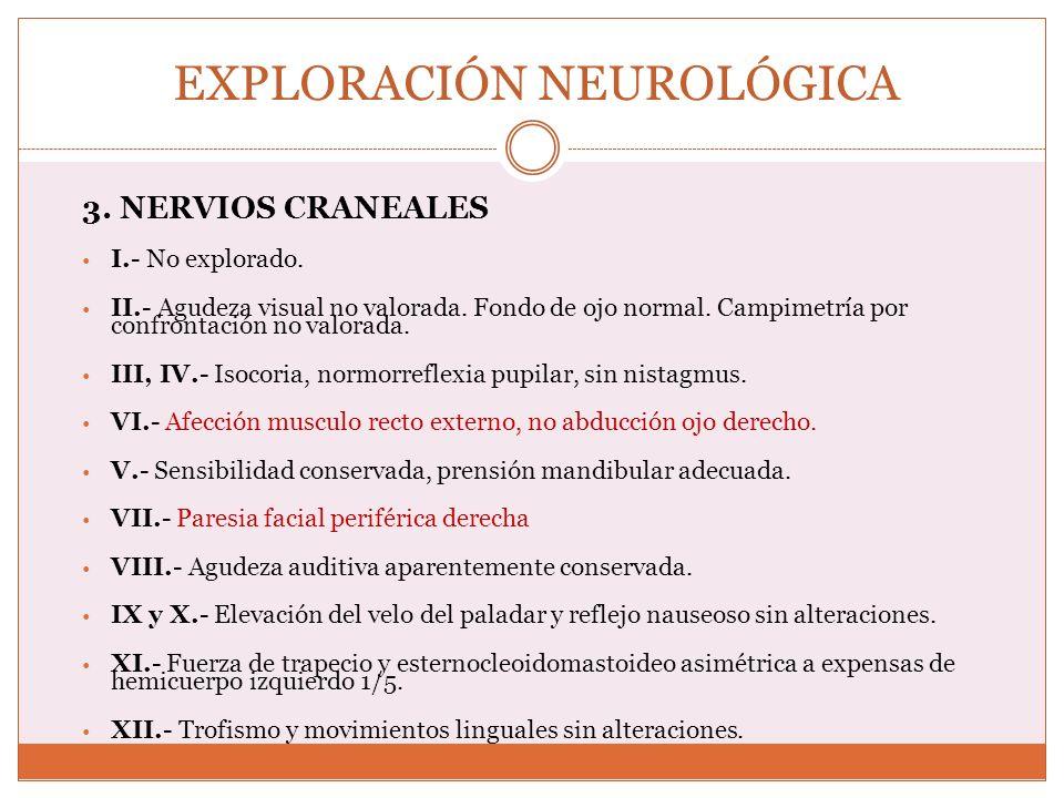EXPLORACIÓN NEUROLÓGICA 3. NERVIOS CRANEALES I.- No explorado. II.- Agudeza visual no valorada. Fondo de ojo normal. Campimetría por confrontación no