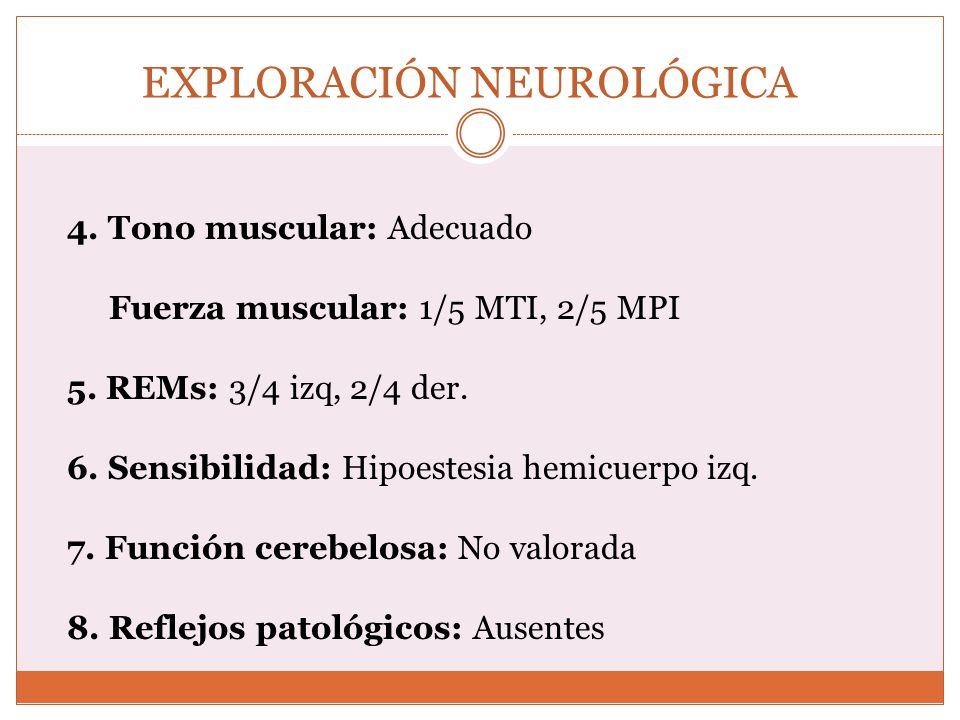 EXPLORACIÓN NEUROLÓGICA 4. Tono muscular: Adecuado Fuerza muscular: 1/5 MTI, 2/5 MPI 5. REMs: 3/4 izq, 2/4 der. 6. Sensibilidad: Hipoestesia hemicuerp