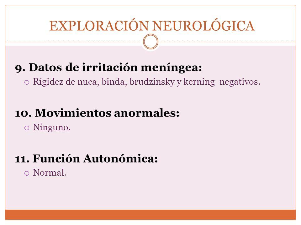 EXPLORACIÓN NEUROLÓGICA 9. Datos de irritación meníngea: Rígidez de nuca, binda, brudzinsky y kerning negativos. 10. Movimientos anormales: Ninguno. 1