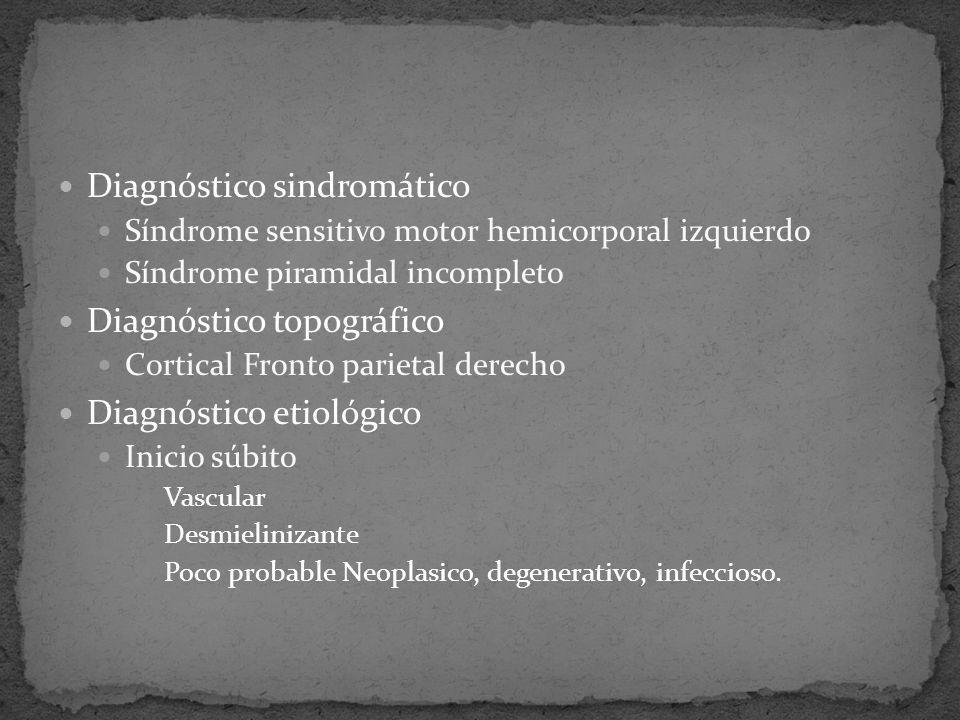 Diagnóstico sindromático Síndrome sensitivo motor hemicorporal izquierdo Síndrome piramidal incompleto Diagnóstico topográfico Cortical Fronto parieta