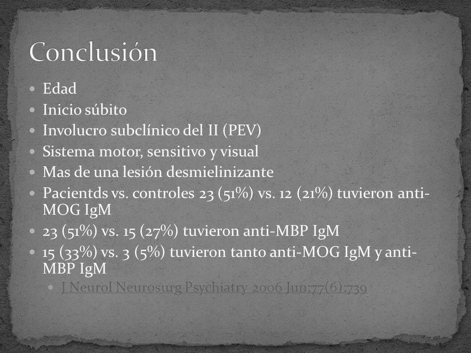 Edad Inicio súbito Involucro subclínico del II (PEV) Sistema motor, sensitivo y visual Mas de una lesión desmielinizante Pacientds vs. controles 23 (5