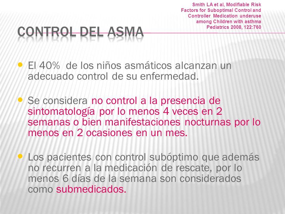El 40% de los niños asmáticos alcanzan un adecuado control de su enfermedad. Se considera no control a la presencia de sintomatología por lo menos 4 v