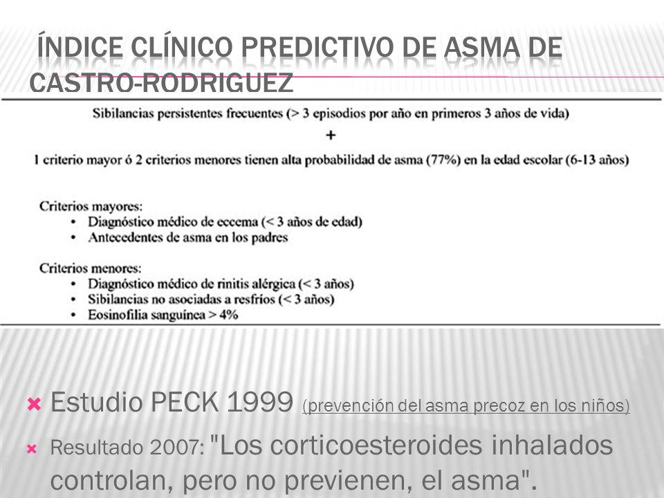 Estudio PECK 1999 (prevención del asma precoz en los niños) Resultado 2007:
