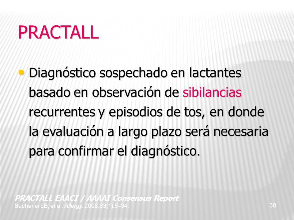 30 PRACTALL Diagnóstico sospechado en lactantes basado en observación de sibilancias recurrentes y episodios de tos, en donde la evaluación a largo pl