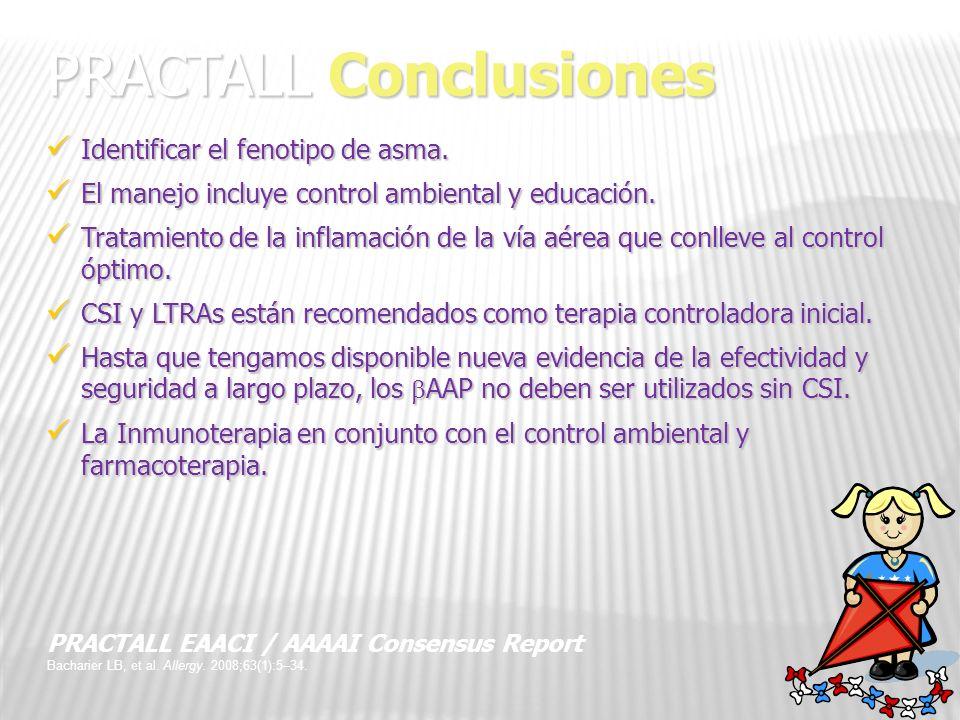 35 PRACTALL Conclusiones Identificar el fenotipo de asma. Identificar el fenotipo de asma. El manejo incluye control ambiental y educación. El manejo