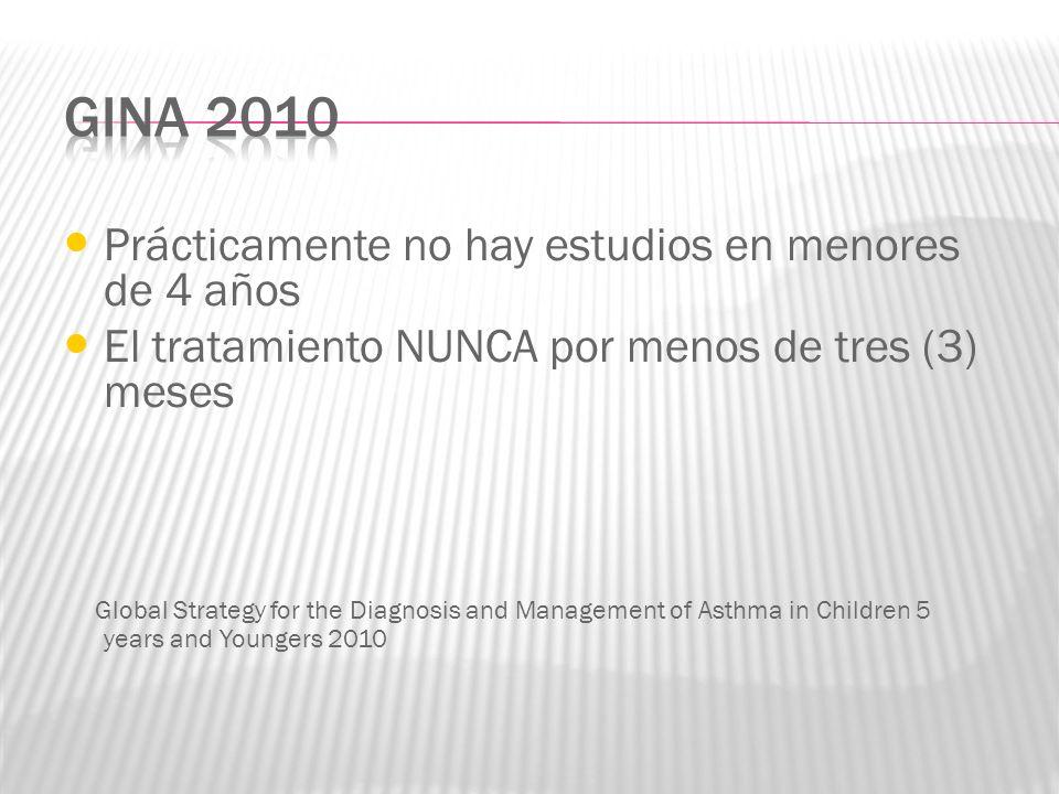 Prácticamente no hay estudios en menores de 4 años El tratamiento NUNCA por menos de tres (3) meses Global Strategy for the Diagnosis and Management o