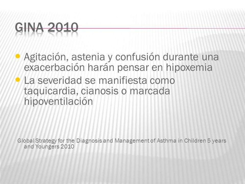 Agitación, astenia y confusión durante una exacerbación harán pensar en hipoxemia La severidad se manifiesta como taquicardia, cianosis o marcada hipo