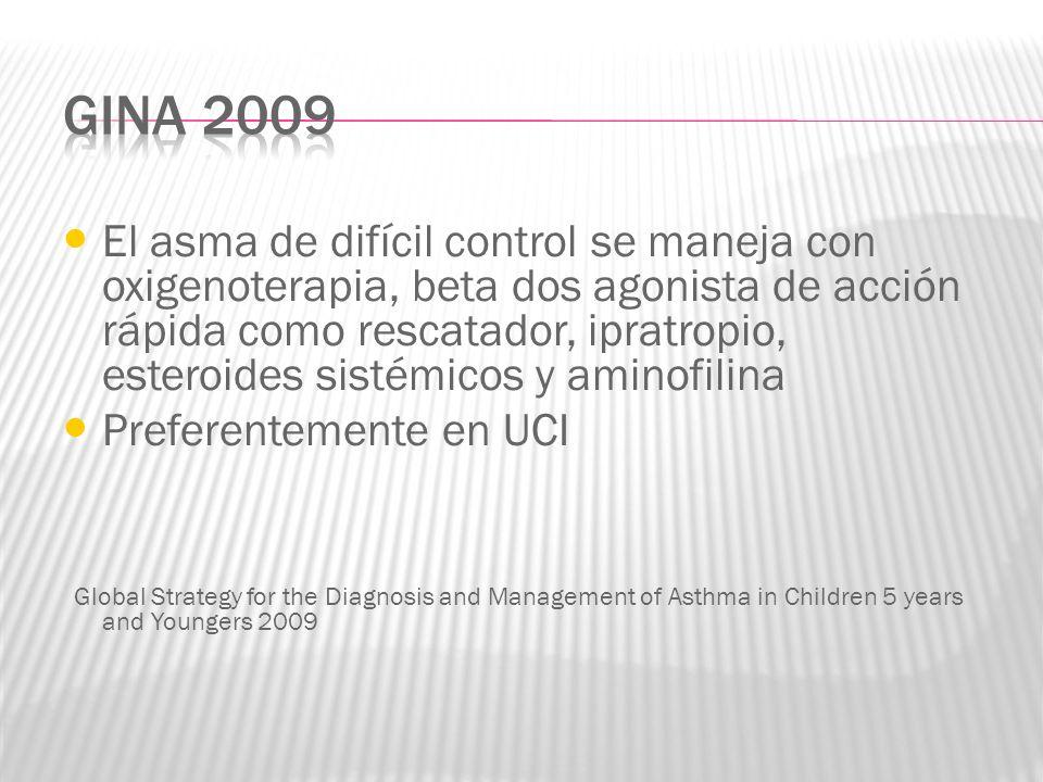 El asma de difícil control se maneja con oxigenoterapia, beta dos agonista de acción rápida como rescatador, ipratropio, esteroides sistémicos y amino