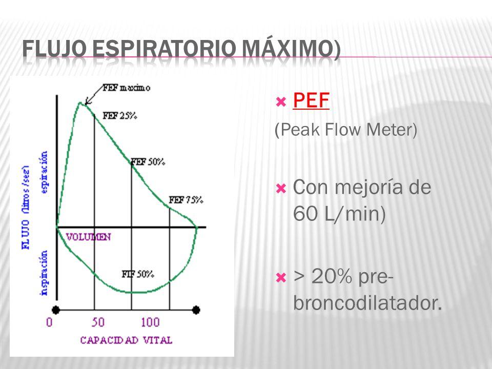 PEF (Peak Flow Meter) Con mejoría de 60 L/min) > 20% pre- broncodilatador.