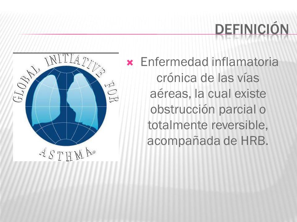 Enfermedad inflamatoria crónica de las vías aéreas, la cual existe obstrucción parcial o totalmente reversible, acompañada de HRB.