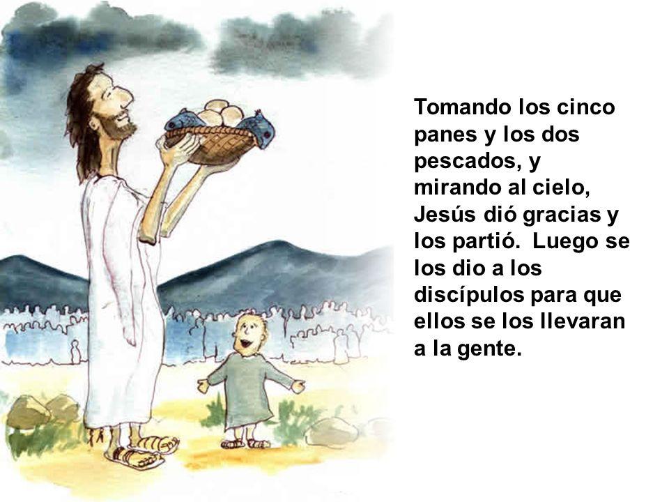 Tomando los cinco panes y los dos pescados, y mirando al cielo, Jesús dió gracias y los partió. Luego se los dio a los discípulos para que ellos se lo