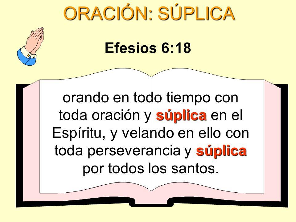 ORACIÓN: SÚPLICA súplica súplica orando en todo tiempo con toda oración y súplica en el Espíritu, y velando en ello con toda perseverancia y súplica p
