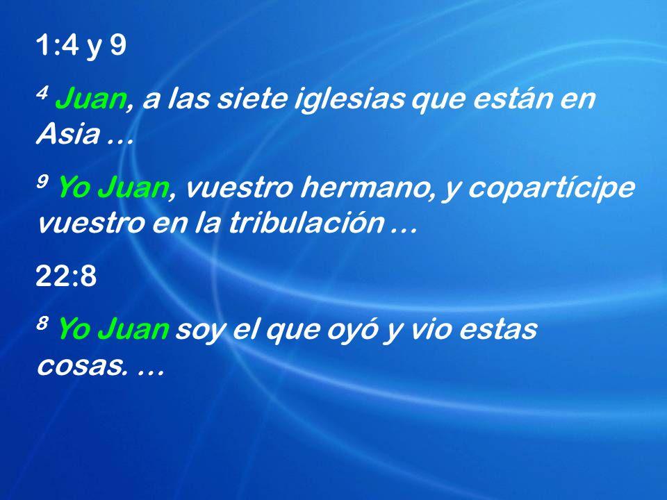 1:4 y 9 4 Juan, a las siete iglesias que están en Asia … 9 Yo Juan, vuestro hermano, y copartícipe vuestro en la tribulación … 22:8 8 Yo Juan soy el q