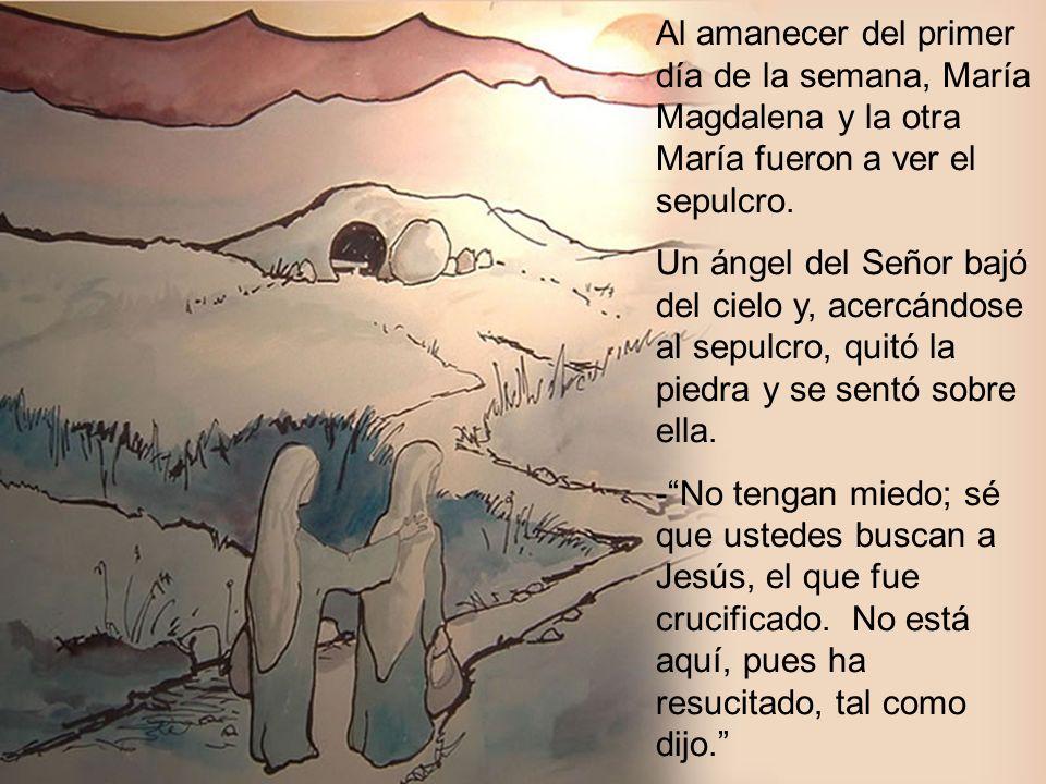 Al amanecer del primer día de la semana, María Magdalena y la otra María fueron a ver el sepulcro. Un ángel del Señor bajó del cielo y, acercándose al