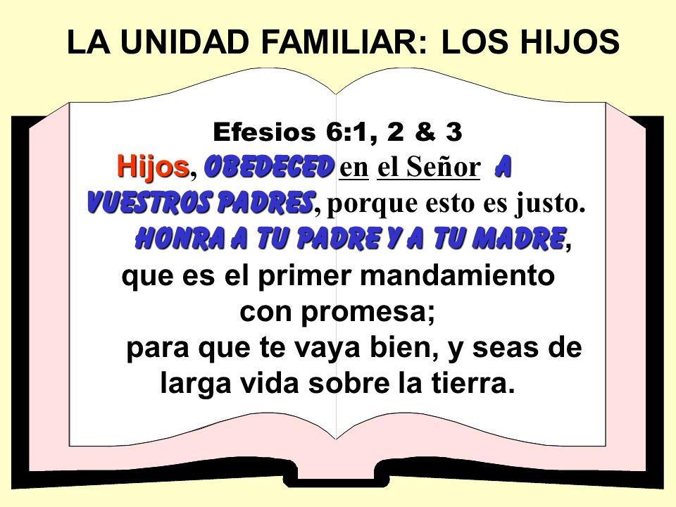 LA UNIDAD FAMILIAR: LOS HIJOS Efesios 6:1, 2 & 3 Hijos obedeceda vuestros padres Hijos, obedeced en el Señor a vuestros padres, porque esto es justo.
