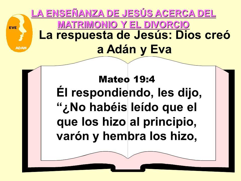 LA ENSEÑANZA DE JESÚS ACERCA DEL MATRIMONIO Y EL DIVORCIO La respuesta de Jesús: Dios creó a Adán y Eva Mateo 19:4 Él respondiendo, les dijo, ¿No habéis leído que el que los hizo al principio, varón y hembra los hizo,