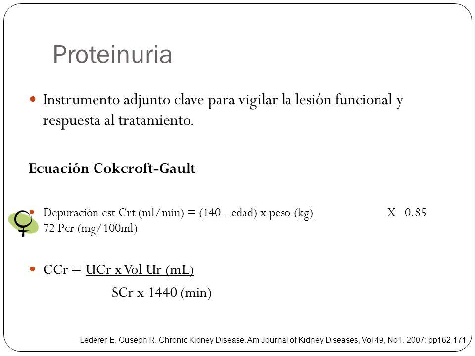 Proteinuria Instrumento adjunto clave para vigilar la lesión funcional y respuesta al tratamiento. Ecuación Cokcroft-Gault Depuración est Crt (ml/min)