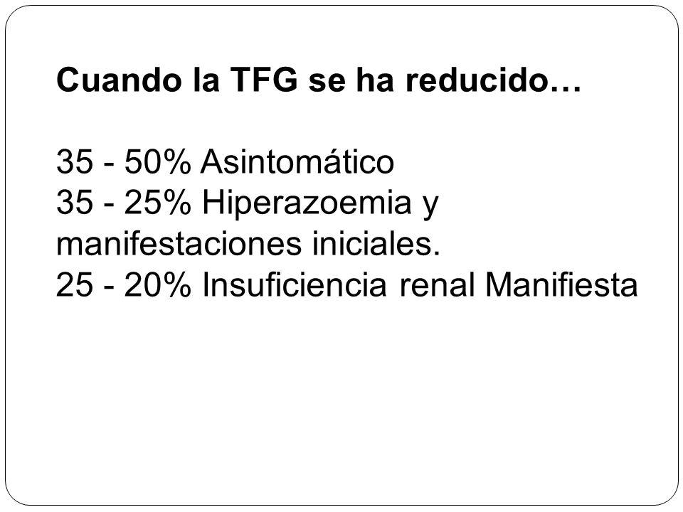 Cuando la TFG se ha reducido… 35 - 50% Asintomático 35 - 25% Hiperazoemia y manifestaciones iniciales. 25 - 20% Insuficiencia renal Manifiesta