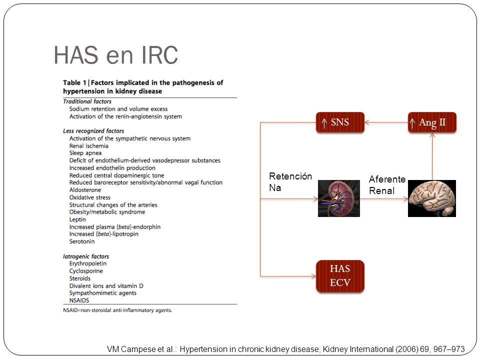 HAS en IRC SNS Ang II HAS ECV HAS ECV Retención Na Aferente Renal VM Campese et al.: Hypertension in chronic kidney disease; Kidney International (200