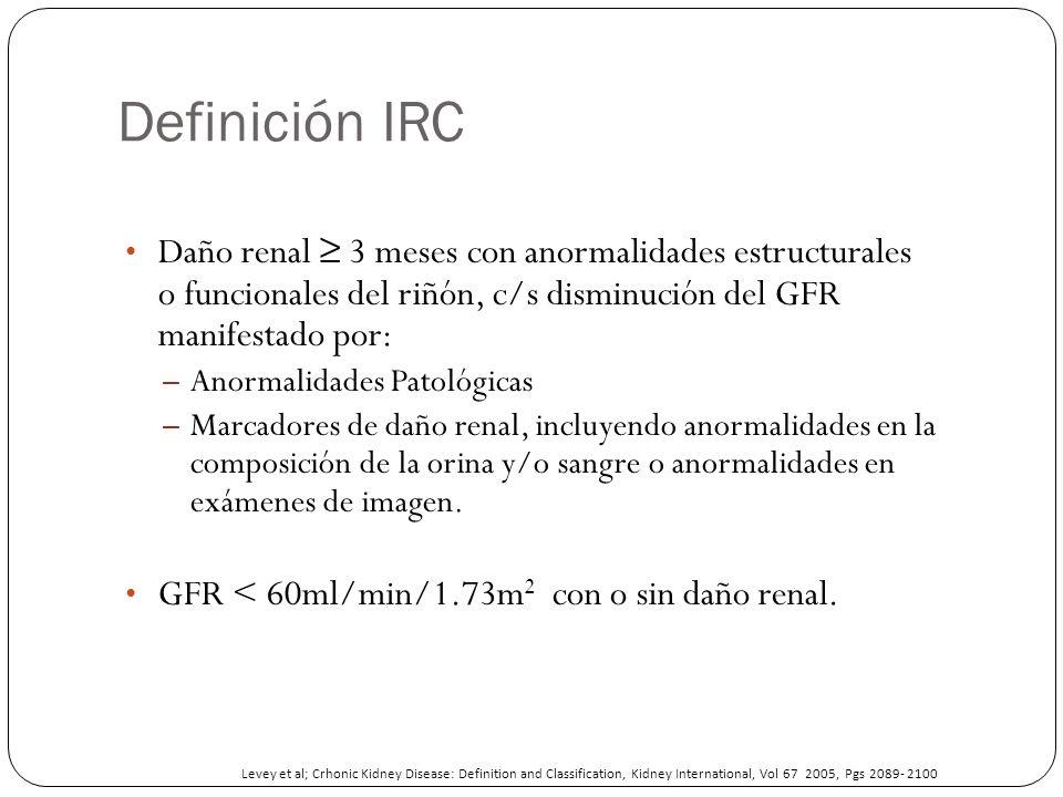 Definición IRC Daño renal 3 meses con anormalidades estructurales o funcionales del riñón, c/s disminución del GFR manifestado por: – Anormalidades Pa