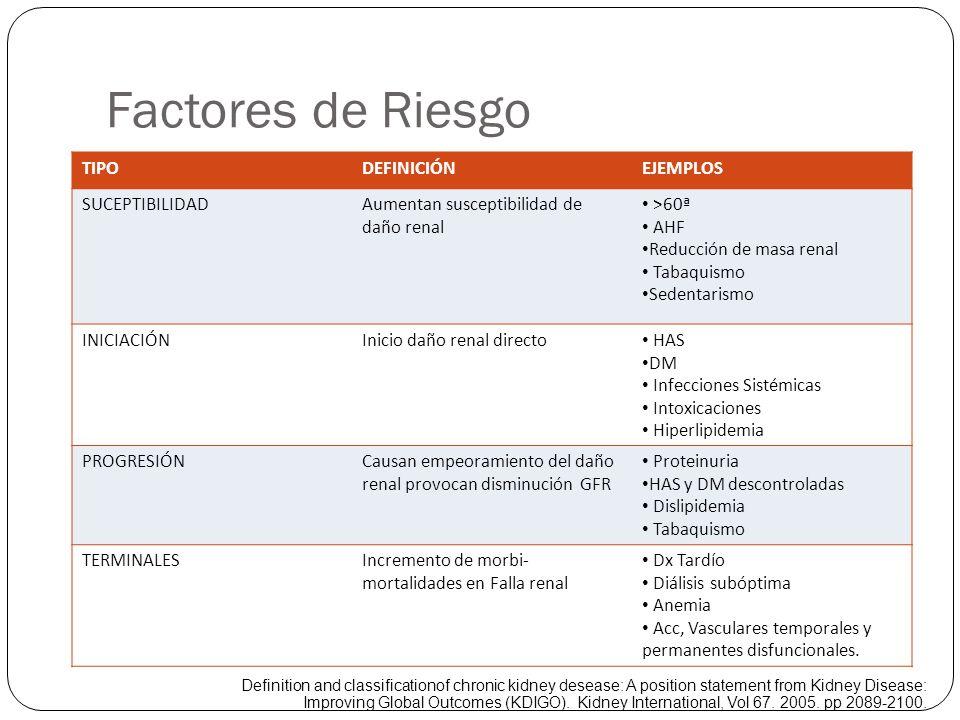 Factores de Riesgo TIPODEFINICIÓNEJEMPLOS SUCEPTIBILIDADAumentan susceptibilidad de daño renal >60ª AHF Reducción de masa renal Tabaquismo Sedentarism