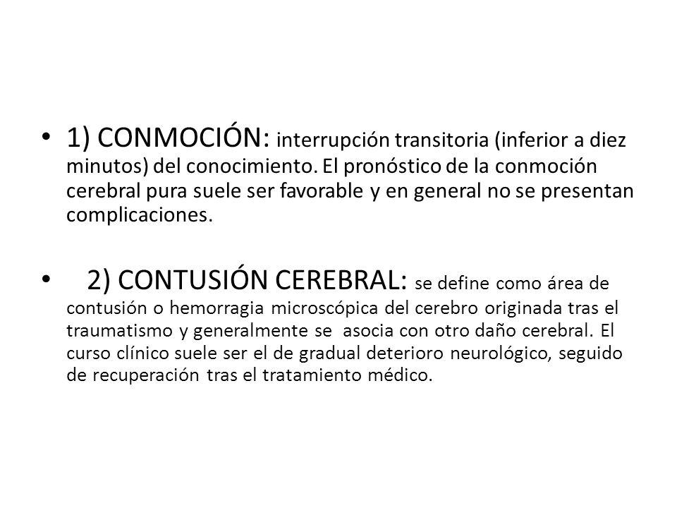 1) CONMOCIÓN: interrupción transitoria (inferior a diez minutos) del conocimiento. El pronóstico de la conmoción cerebral pura suele ser favorable y e