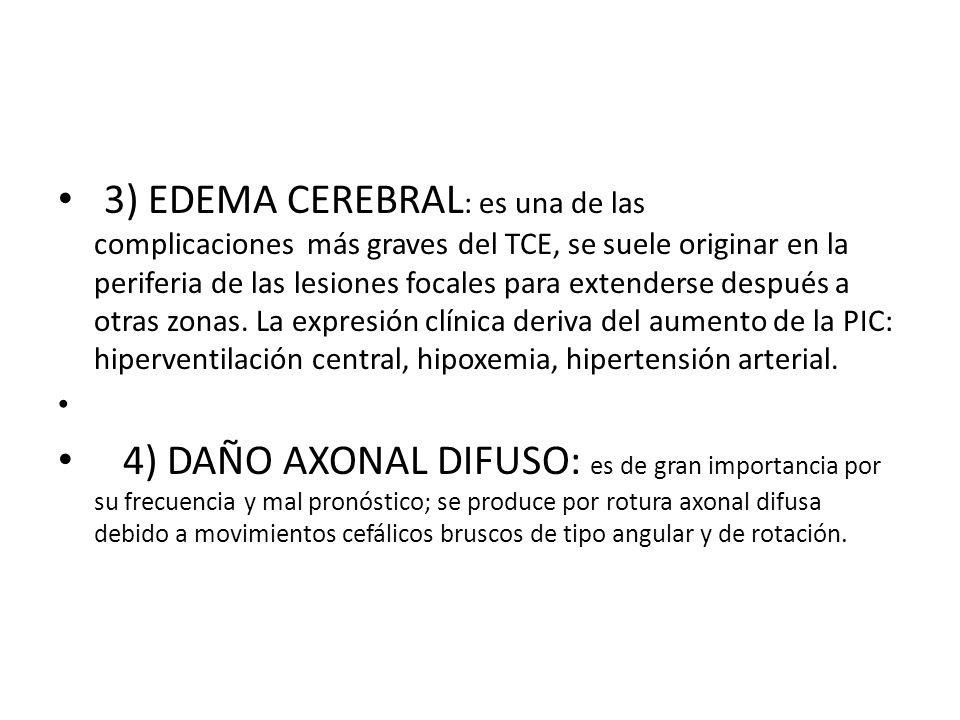 3) EDEMA CEREBRAL : es una de las complicaciones más graves del TCE, se suele originar en la periferia de las lesiones focales para extenderse después