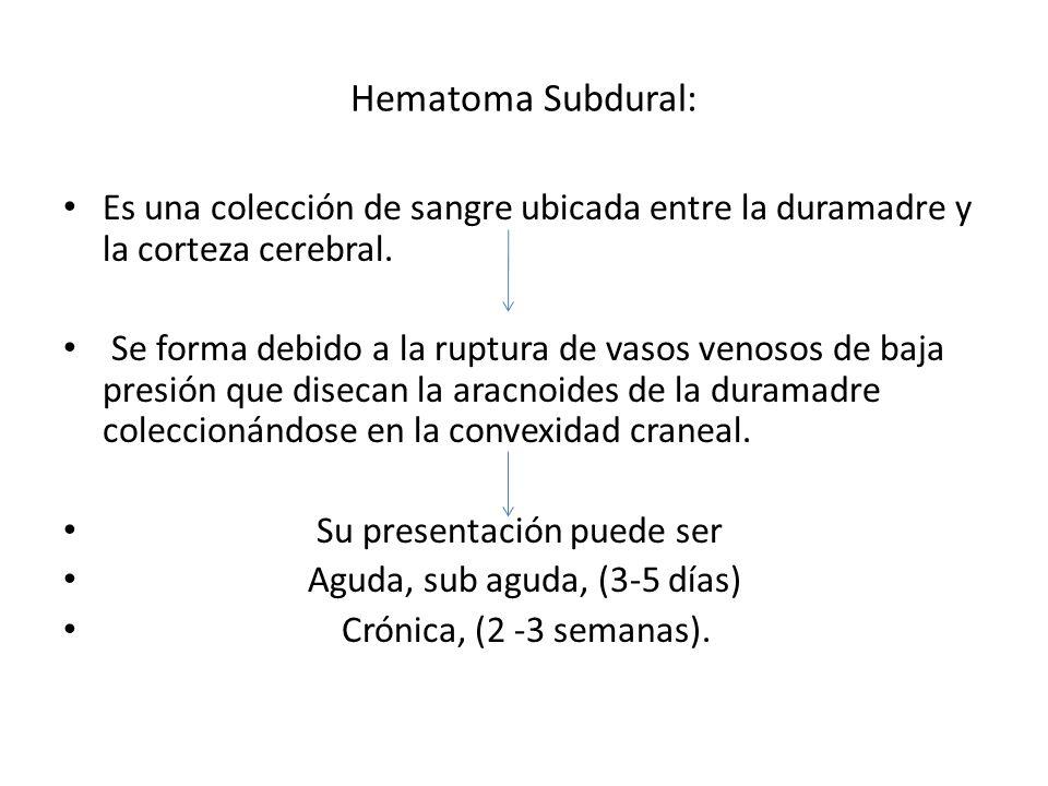 Hematoma Subdural: Es una colección de sangre ubicada entre la duramadre y la corteza cerebral. Se forma debido a la ruptura de vasos venosos de baja
