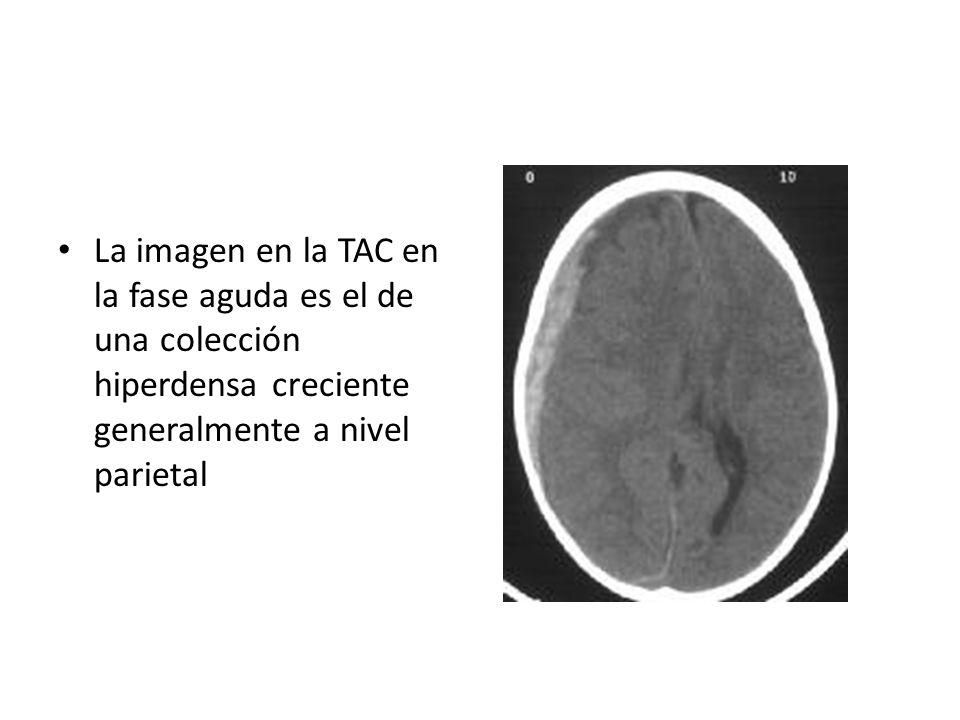 La imagen en la TAC en la fase aguda es el de una colección hiperdensa creciente generalmente a nivel parietal