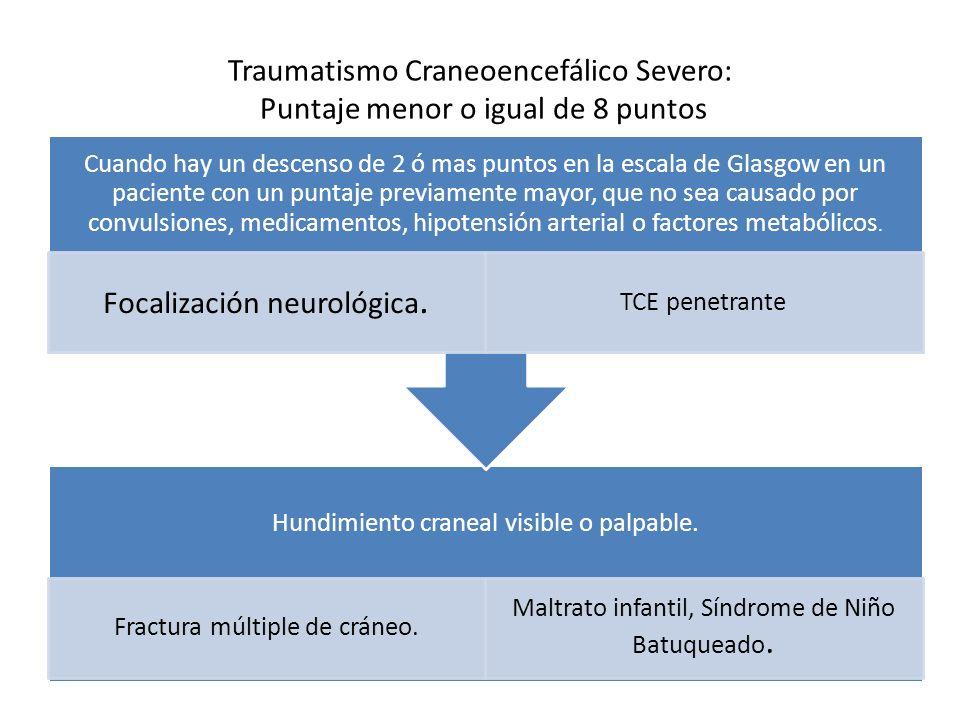 Traumatismo Craneoencefálico Severo: Puntaje menor o igual de 8 puntos Hundimiento craneal visible o palpable. Fractura múltiple de cráneo. Maltrato i