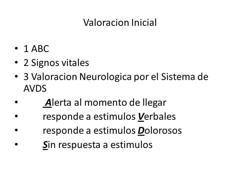 Valoracion Inicial 1 ABC 2 Signos vitales 3 Valoracion Neurologica por el Sistema de AVDS Alerta al momento de llegar responde a estimulos Verbales re