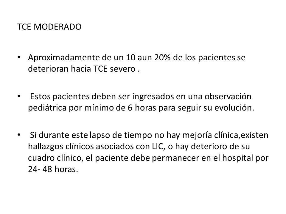 TCE MODERADO Aproximadamente de un 10 aun 20% de los pacientes se deterioran hacia TCE severo. Estos pacientes deben ser ingresados en una observación
